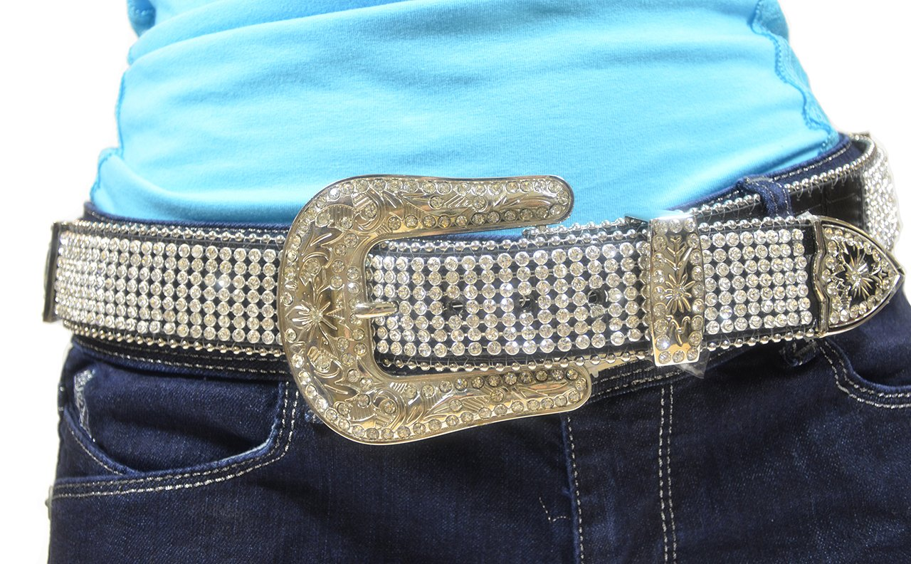 Belt - Full Rhinestone, Leather (Black, Medium)