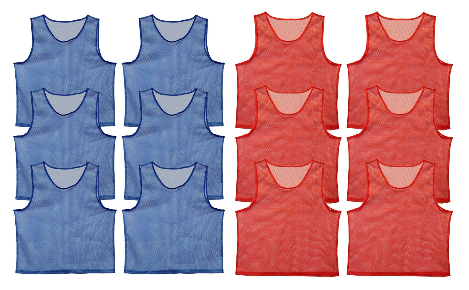 new products 19e1f c1901 Get Out! Scrimmage Vest Pinnies 12pk in Red and Blue – Youth, Teens and  Adult Sizes – Nylon Mesh Jerseys for Any Sport