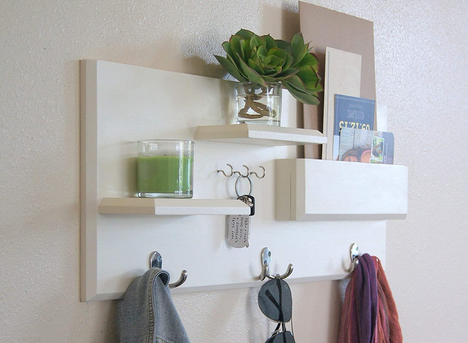 White Wall Mounted Coat Rack with Mail Storage and Key Hooks