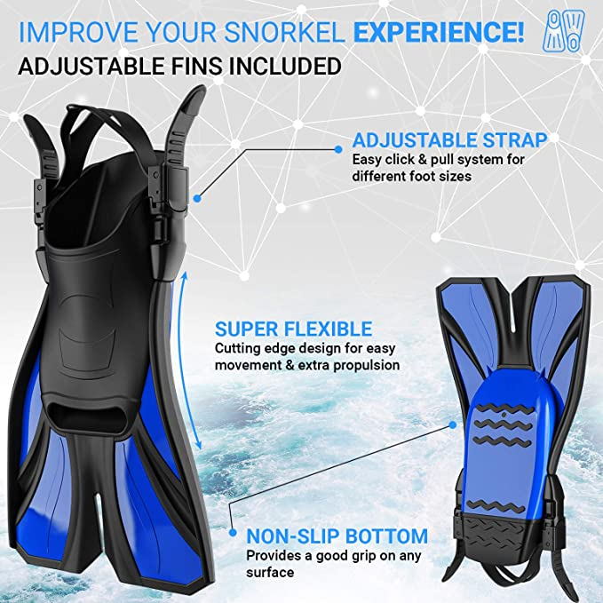 Copozz 4600 Swim Fins Black Adult Size Medium 7-8 Snorkel Scuba Diving Deep Sea