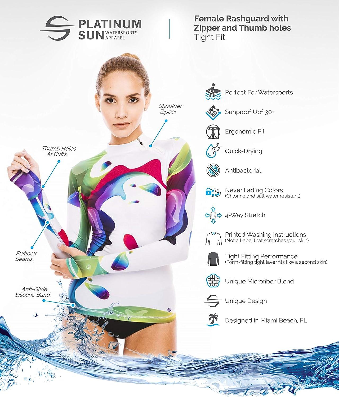Womens Rash Guard Swim Shirt Long Sleeve Swimsuit Top Sun Protection Clothing UPF 30 50+