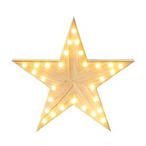 Talking Tables Nordic Christmas in Legno Stella LED Luce Decorazione, Oro
