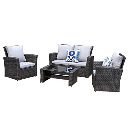 Wisteria Lane Outdoor Patio Furniture Set,5 Piece Sectional Sofa Couch  Wicker Rattan Conversation Set