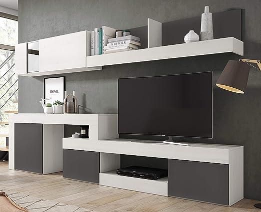 Miroytengo Mueble Modular salón diseño Moderno Comedor Color Blanco Nordic (con veta) y Pizarra 295x164x40 cm: Amazon.es: Juguetes y juegos