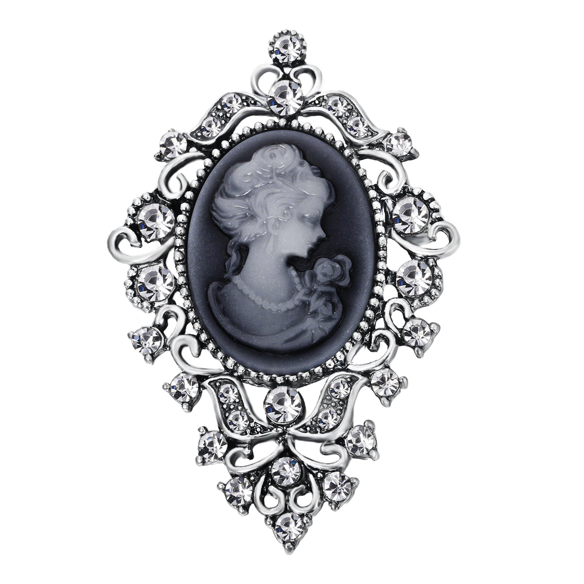 BriLove Women's Wedding Bridal Crystal Victorian Lady Cameo Brooch Pin Grey Black Antique-Silver-Tone
