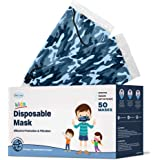 WeCare Kids Face Mask Disposable - 50 Pack - Individually Wrapped - Adorable Blue Camo for Boys and Girs - Soft on Skin…