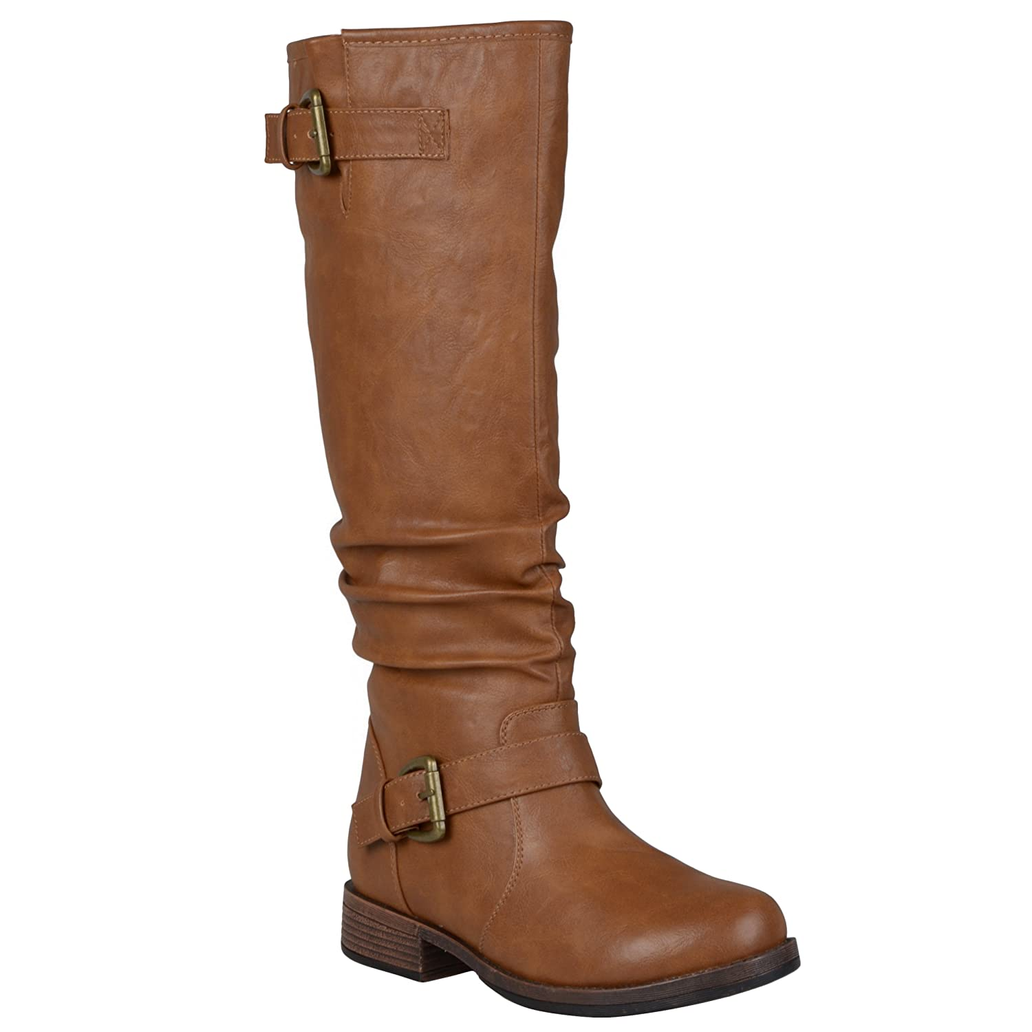 Women's Tan Knee High Extra Wide-Calf Low Heel Buckle Faux Leather Riding Boots