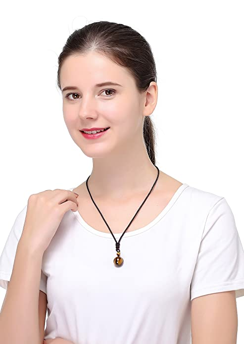 Loyallook Unisex Natural Tiger Stone Onyx Stone Lucky Blessing Chakra Beads Pendant Adjustable Healing Necklace by Loyallook