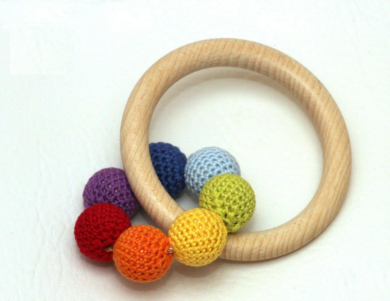 Greifling Baby Regenbogen handgemacht Bio Baumwolle Holz unbehandelt made in Germany hergestellt in Deutschland optional mit Glöckchen