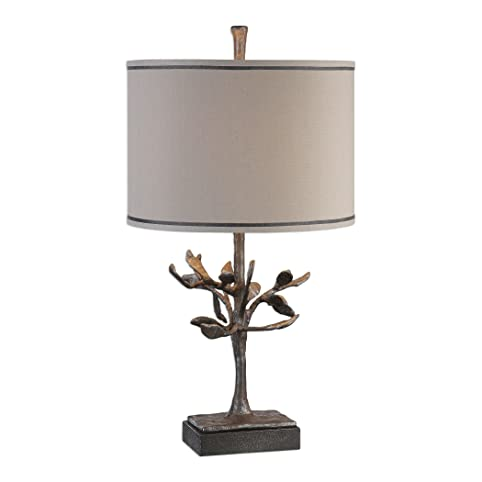 Beau Modern Bronze Silver Tree Sculpture Table Lamp | Cast Iron Metal Branches