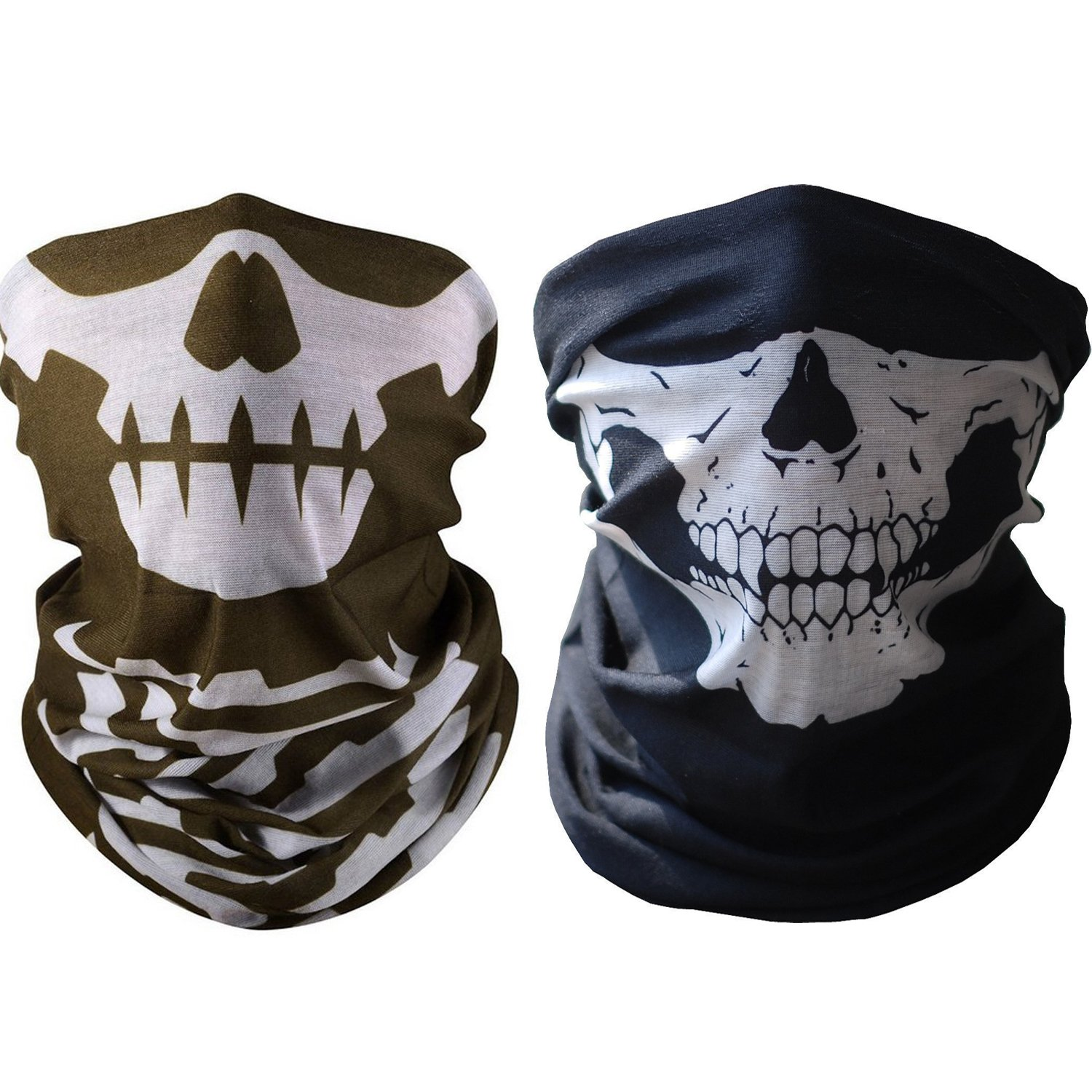 Alxcio Unique Stretchable Tubular Skull Face Mask Windproof Seamless Headwear Neck Mask Outdoor Sport Ski Bike Riding Motorcycle ATV Cycling Snowboards, 2 Pack( Black+ Brown)