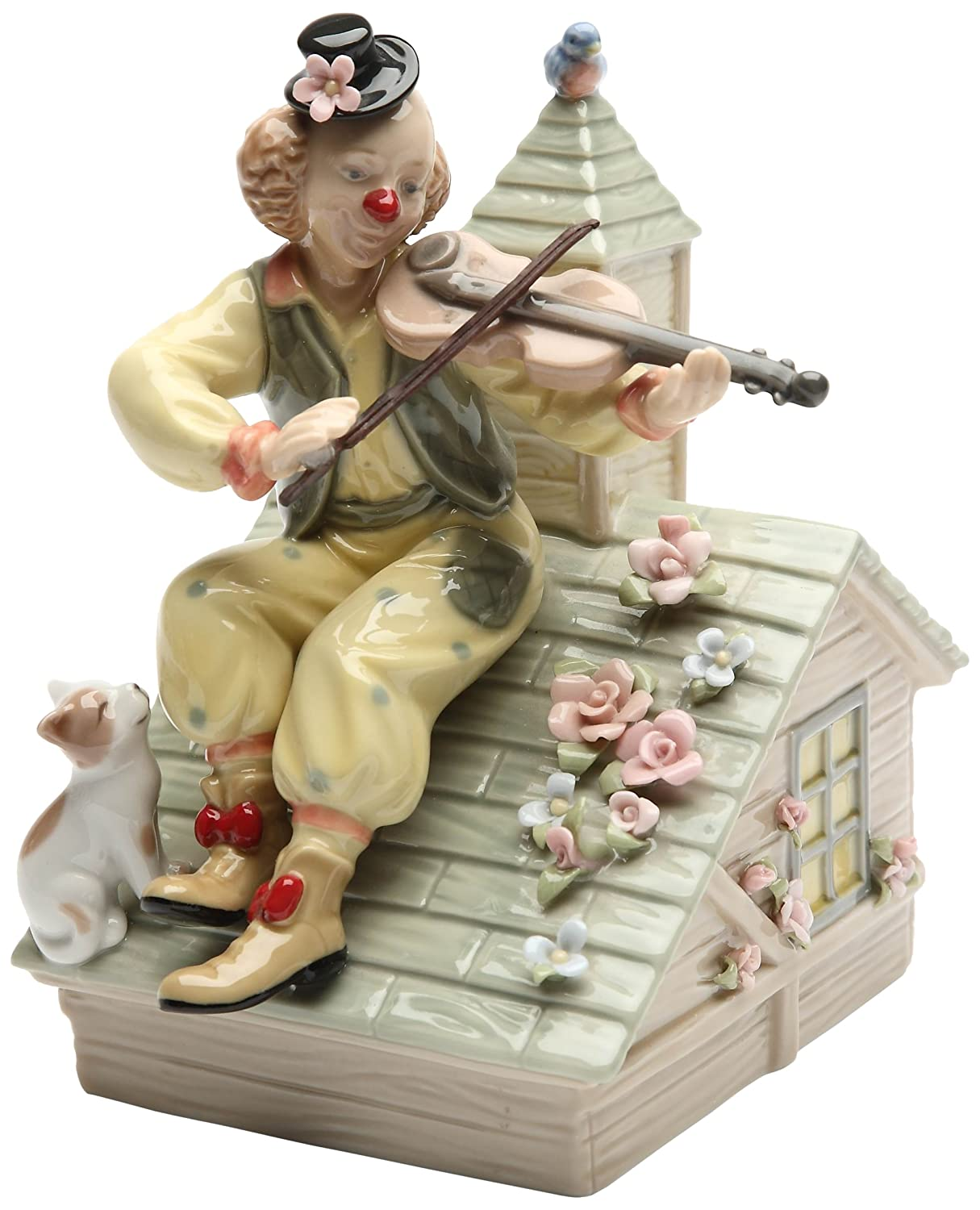 CG 20867 6.25 Fiddle Playing Clown on Rooftop with Cat Music Box Figurine