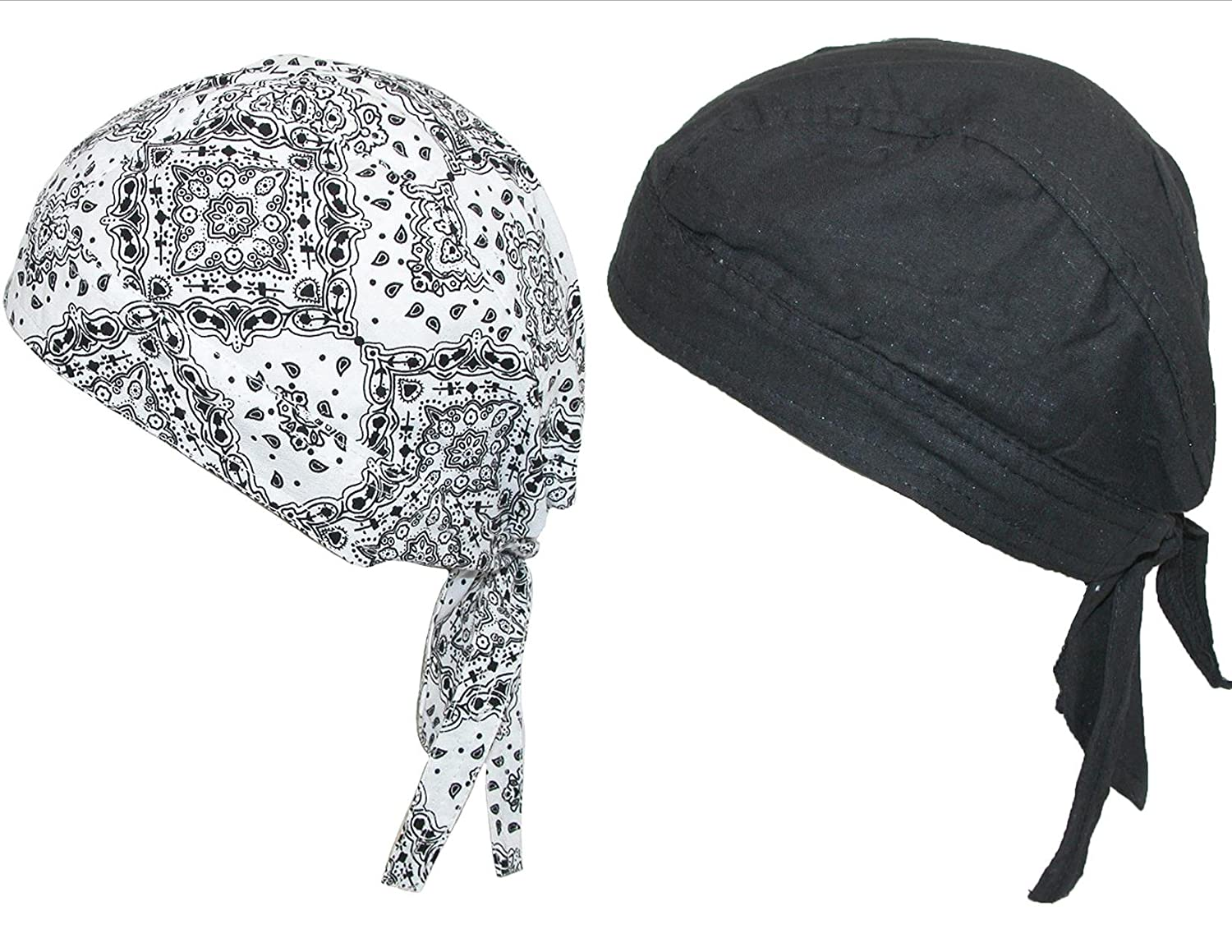 Cotton Premium Lined Solid and Paisley Do Rag Pack of 2