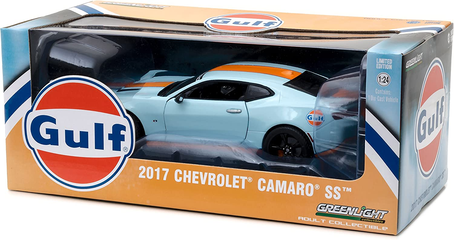 CAMARO SS CAR MODEL GULF PETROL OIL 1:24 SIZE OPENING PARTS LARGE GREENLIGHT T3