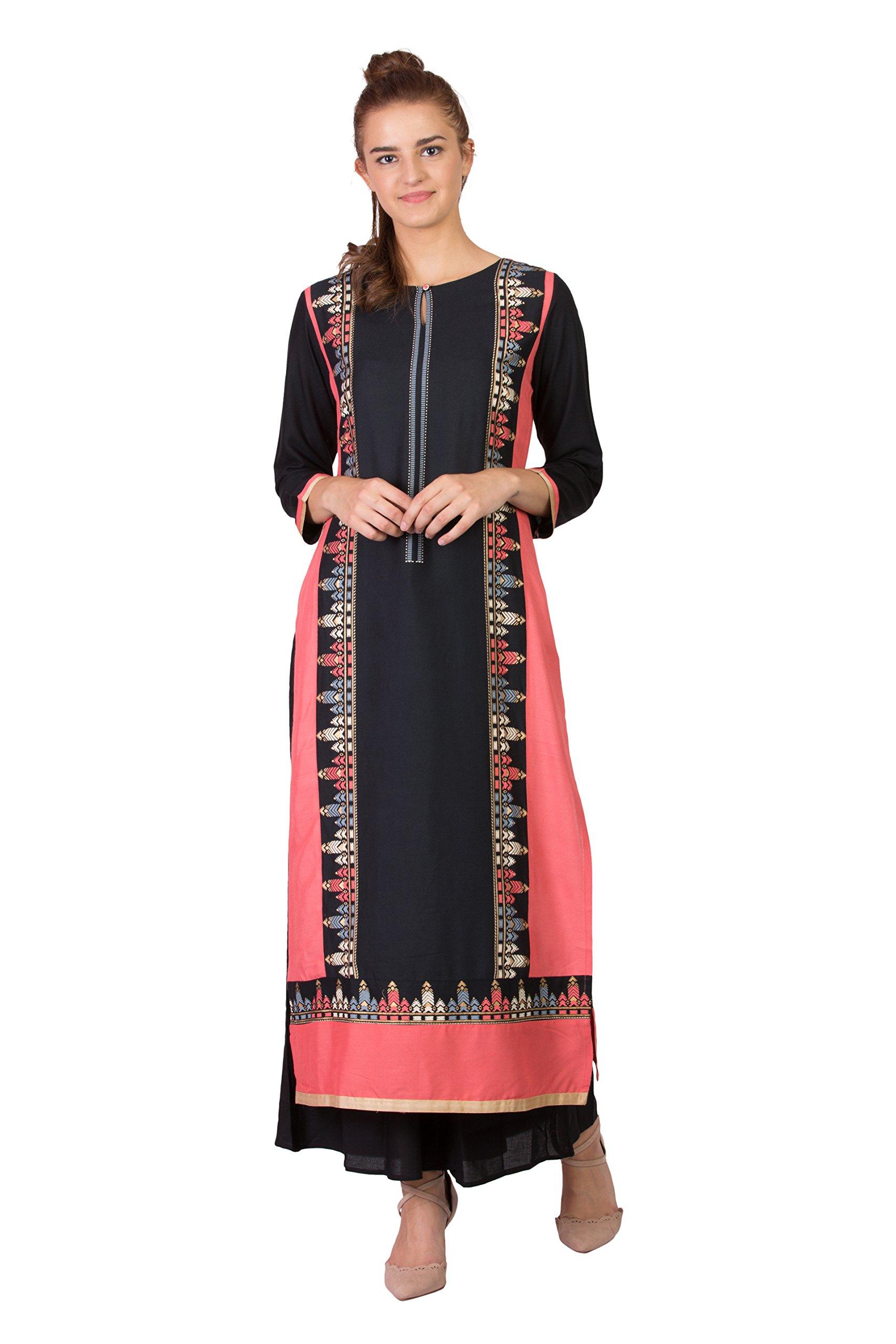 SABHYATA Women Kurta Designer Ethnic Long Dress Casual Tunic Kurti for Women Ladies Partywear Material 100% Pure Rayon Neck Type Round Neck X-Large Black