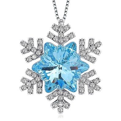 J.Rosée swarovski cristal Collier en argent 925  quot Amour Pur quot   pendentif neige 5b9a79b2d6de