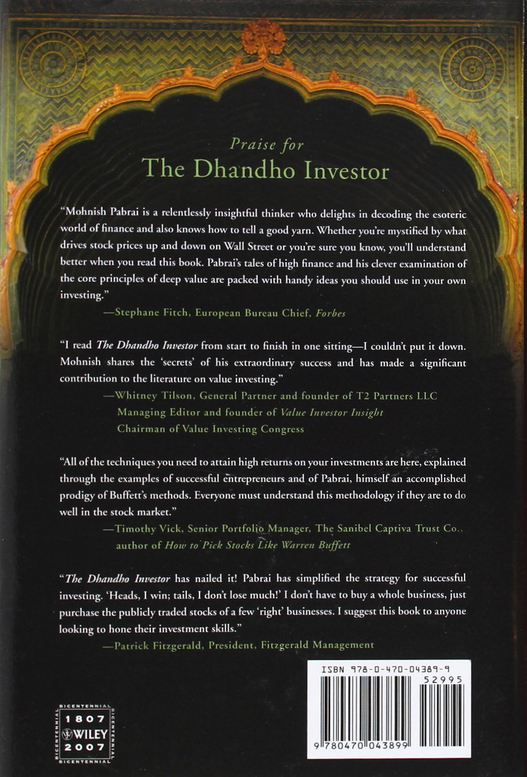 The Dhandho Investor: The Low Risk Value Method To High Returns: Mohnish  Pabrai: 9780470043899: Amazon.com: Books