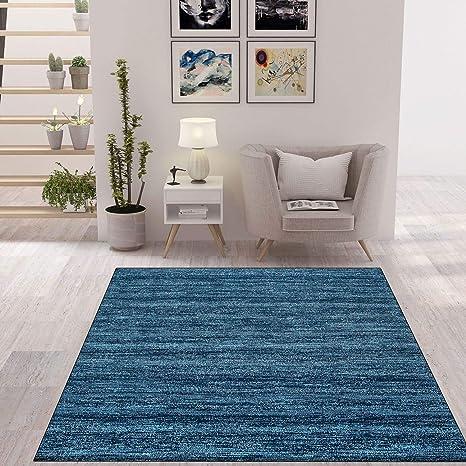 Vimoda Wohnzimmer Teppich Modern Dunkel Blau Kurzflor Meliert Farbecht Und Sehr Pflegeleicht Maße 160 X 230 Cm Küche Haushalt