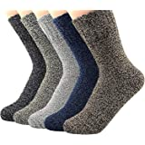 Century Star Women's Knit Wool Vintage Casual Crew Comfortable Winter Socks 5 Pack