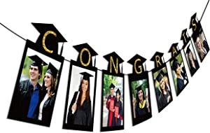 2020 Graduation Photo Banner Party Supplies - Congrats Grad Garland Decorations Favors 2PCS