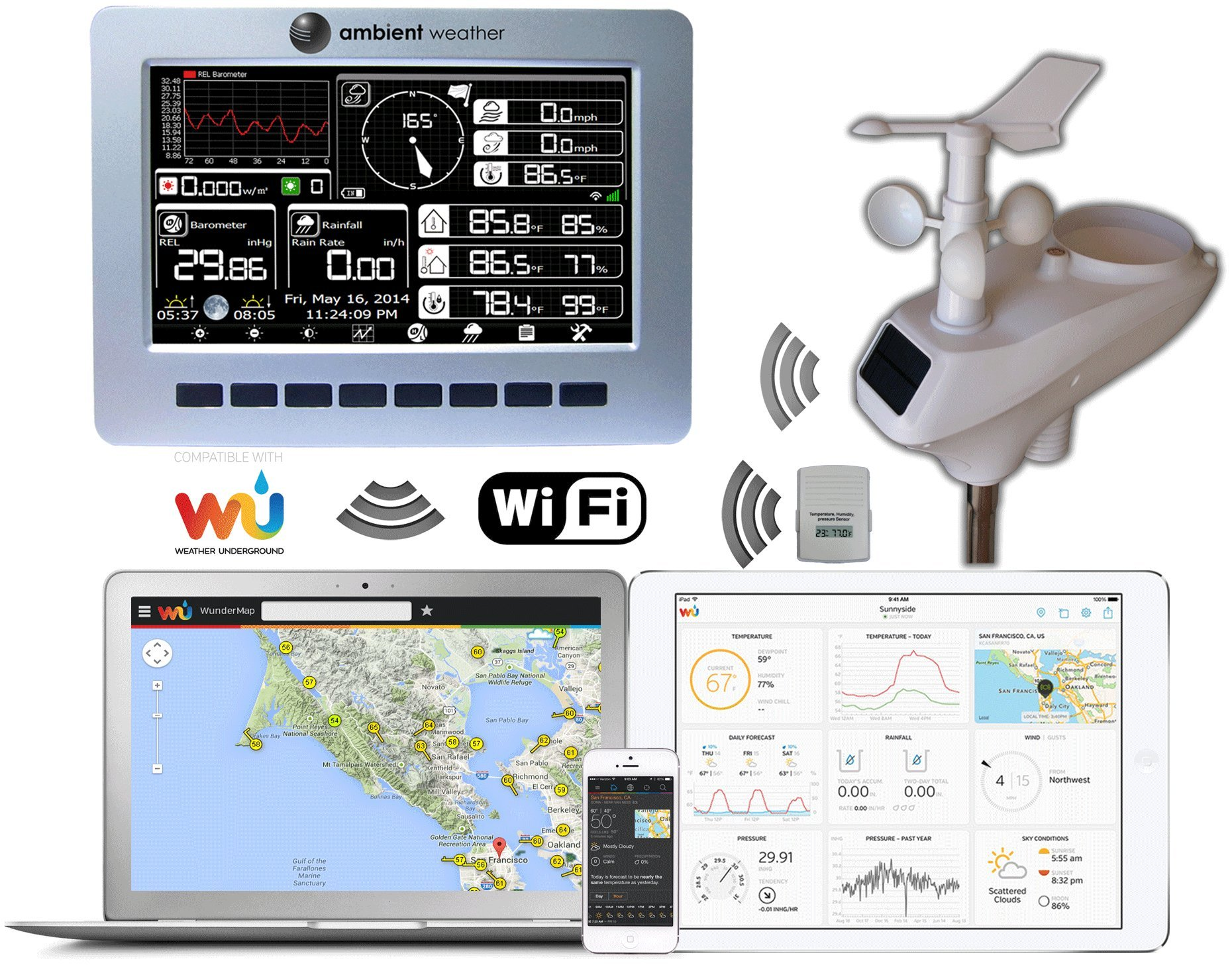 Ambient Weather WS-1002-WIFI OBSERVER Solar Powered Wireless WiFi Remote Monitoring Weather Station with Solar Radiation and UV by Ambient Weather