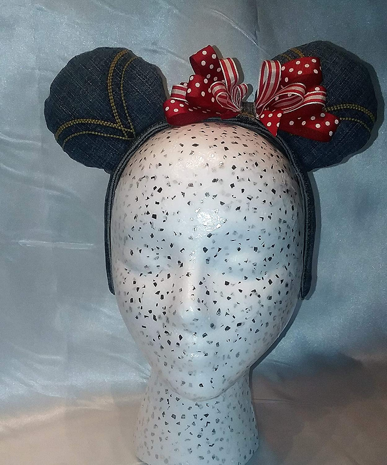 02ed2fea6c Amazon.com: Upcycled Denim Mickey Minnie Mouse Ears with Offset Red ...