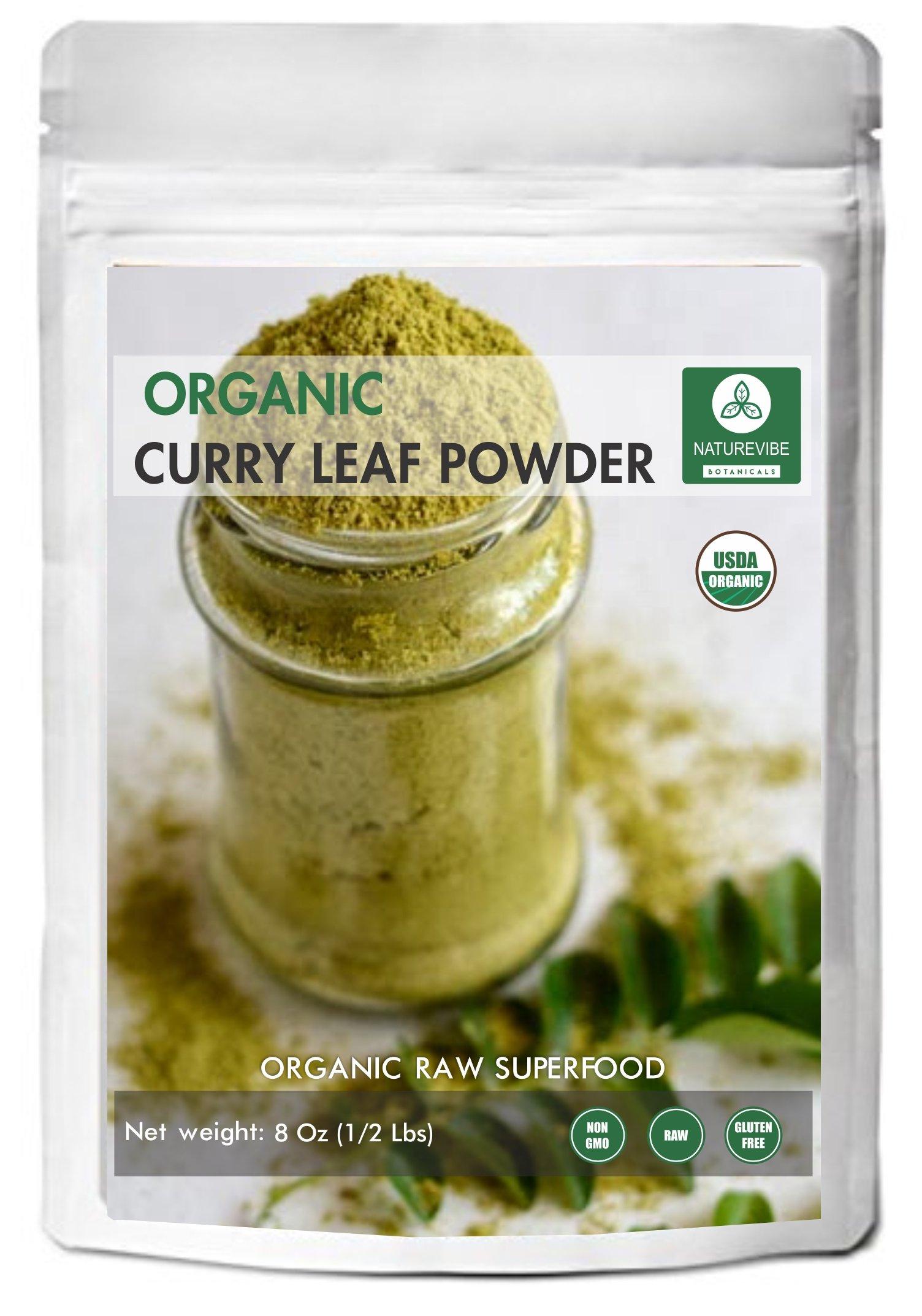 Curry Leaf Powder (1/2 lb) by Naturevibe Botanicals, Gluten-Free & Non-GMO (8 ounces) - Organic Murraya koenigii