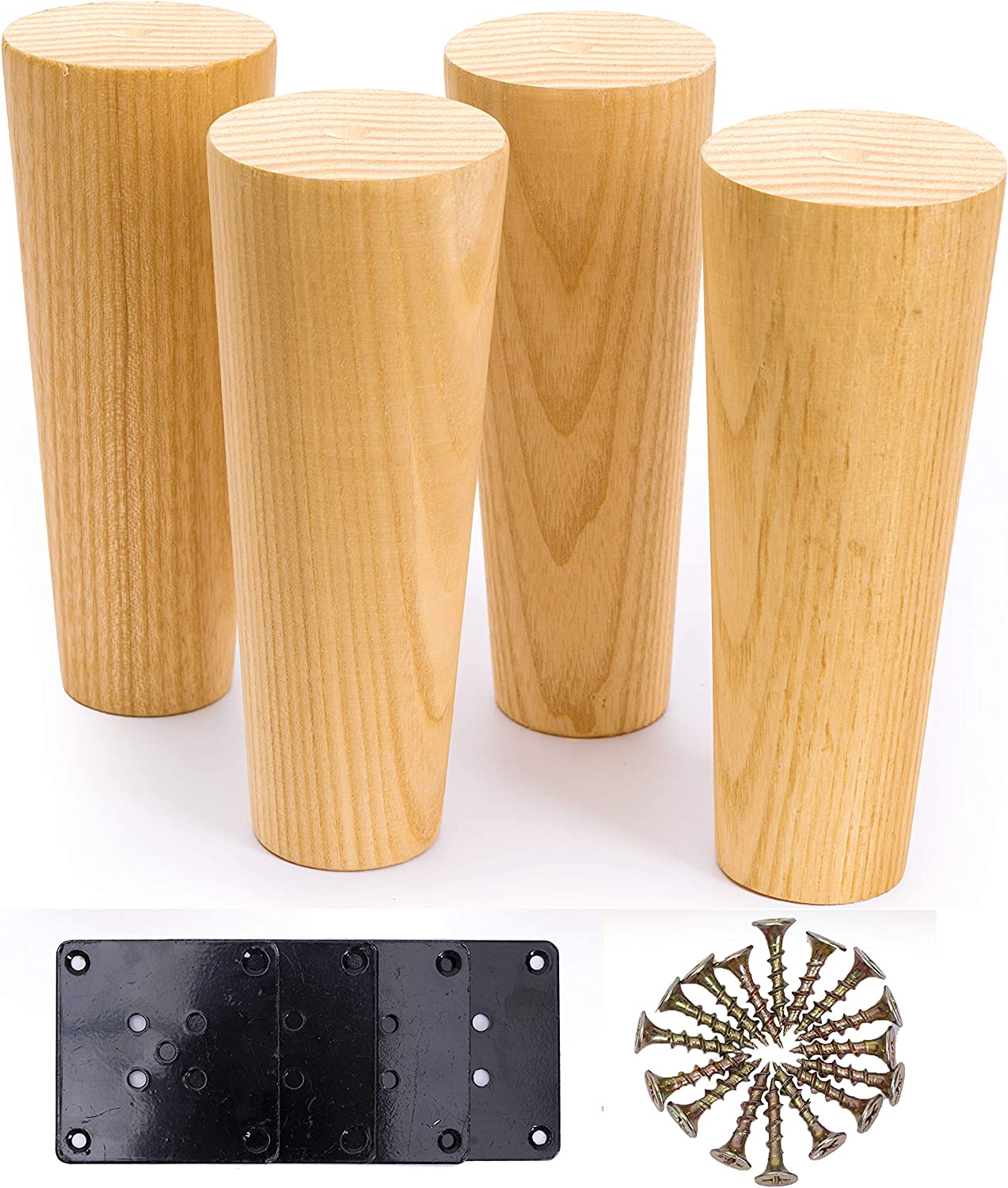 WOODINNO Furniture Leg Replacement for Sofa, Dresser, Cabinet, Couch,Otoman, Bed   Solid Wood Round Feet with Plate Hardware Set of 4 (6 Inch, Primer)