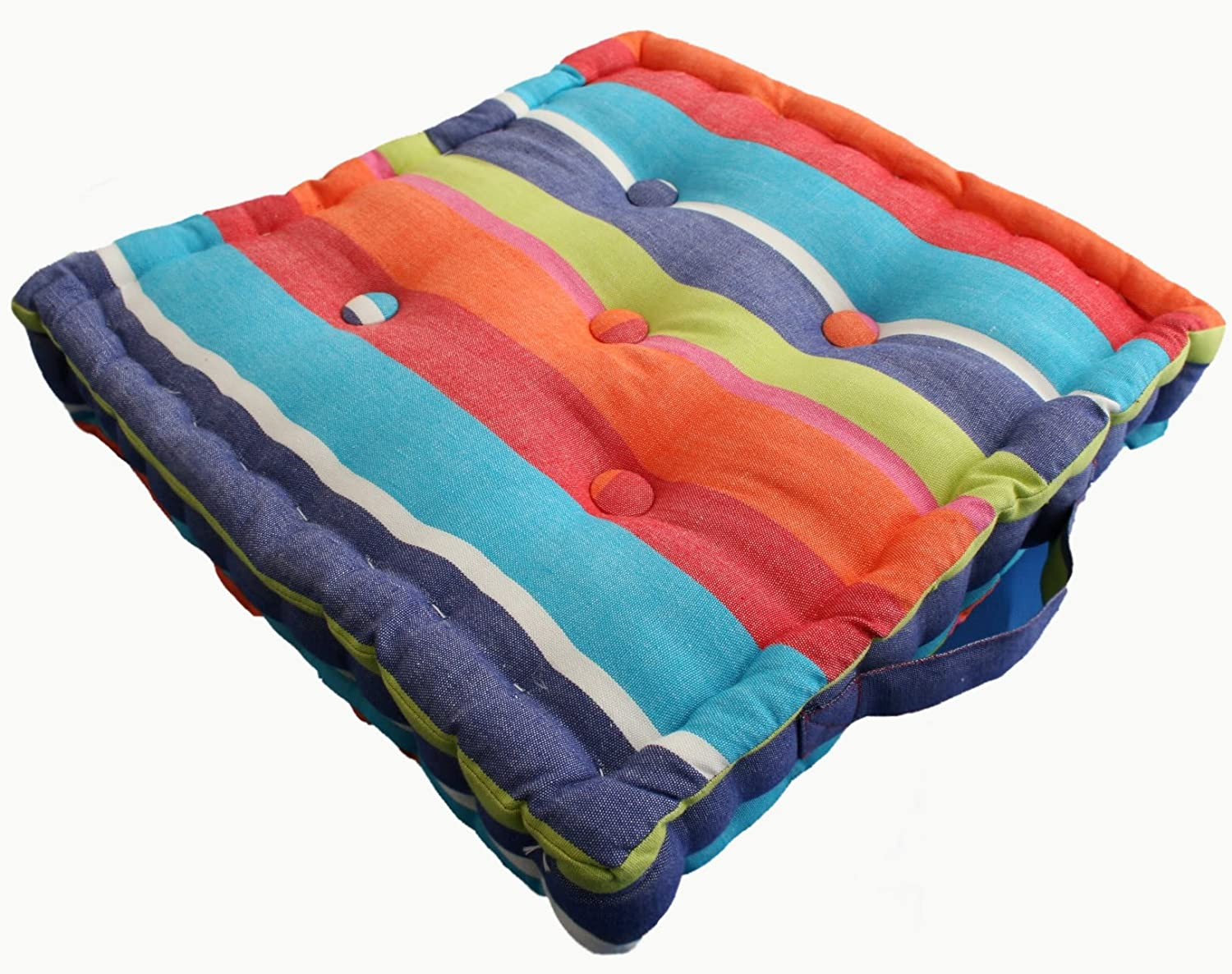 Multi Coloured Stripe Floor Cushion   100% Cotton   40 X 40 X 10 Cm Square    Indoor   Garden   Dining Chair Booster Seat Cushion Pad: Amazon.co.uk:  Garden U0026 ...
