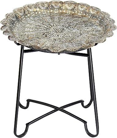 Flanacom Table D Appoint En Métal Style Oriental Et