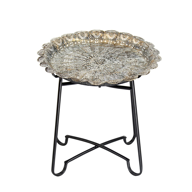 Flanacom tavolino Marocchino in Metallo Orientale Piccolo Rotondo teiera con Struttura Pieghevole Orient Orientale Ornamenti