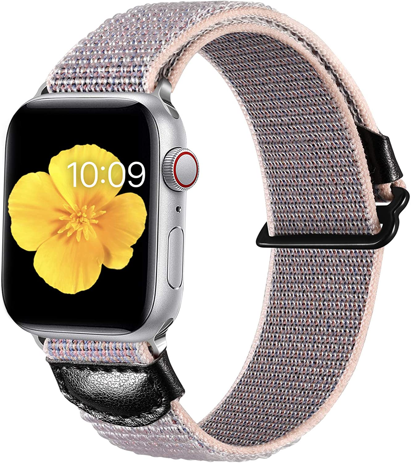 Easuny Sport Bands Compatible with Apple Watch Series 6 44mm Series 5 4/SE for Women Men, Soft weave Loop Strap Replacement for Breathable Adjustable iWatch 42mm Series 3 2 1,Sand Pink