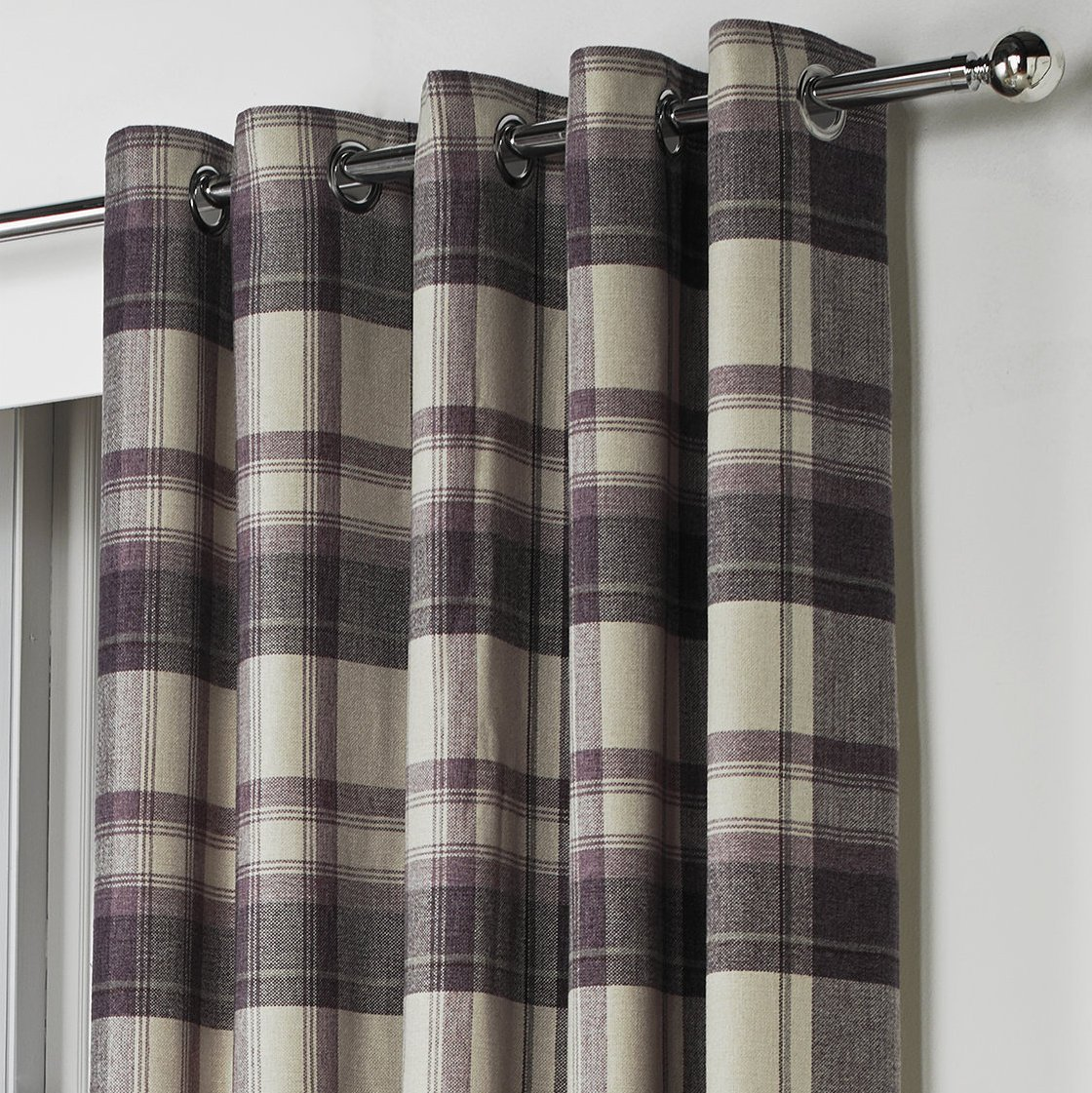 One Pair Of Belvedere Eyelet Header Curtains In Plum Size 66x90 168 X 229 Cm Width Drop Amazoncouk Kitchen Home