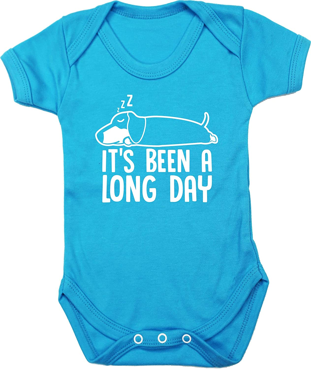 Hippowarehouse Its Been a Long Day Boys Girls Short Sleeve Dachshund Sausage Dog Baby Vest Bodysuit