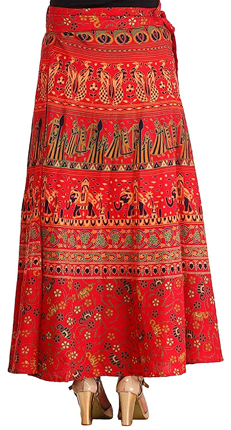 aa61a0b349 beriya Fashion's Printed Cotton Multi Color Wrap Around Long Skirt  (Assorted Colour & Assorted Design) (red) (red): Amazon.in: Clothing &  Accessories