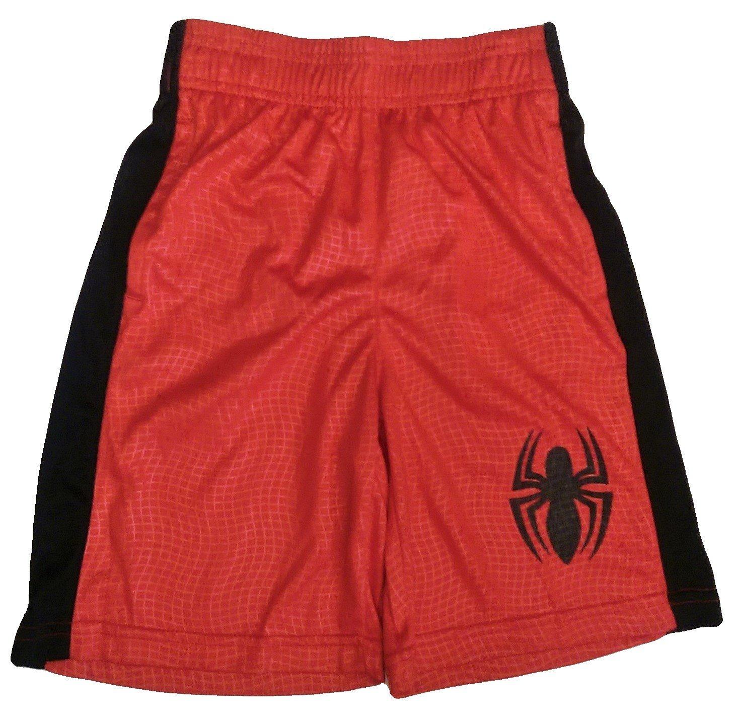Bundled Brands Boys Youth Printed Performance Basketball Athletic Shorts (Medium 8, Red - Spiderman)