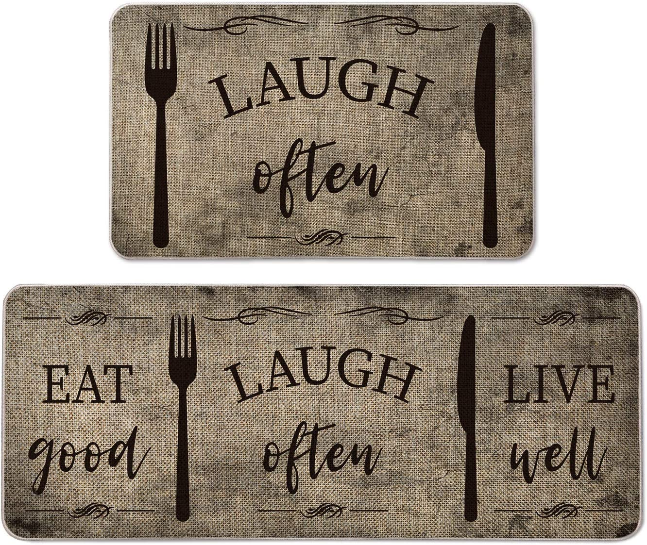 Artoid Mode Eat Good Laugh Often Live Well Decorative Kitchen Mats Set of 2, Seasonal Fork and Knife Holiday Party Low-Profile Floor Mat for Home Kitchen - 17x29 and 17x47 Inch