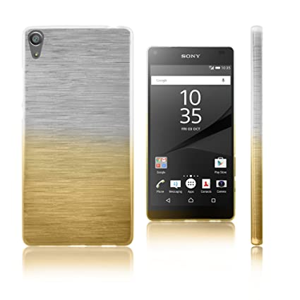 Xcessor Transition Color Flexible TPU Case for Sony Xperia Z5 Premium. With Gradient Silk Thread Texture. Transparent / Gold