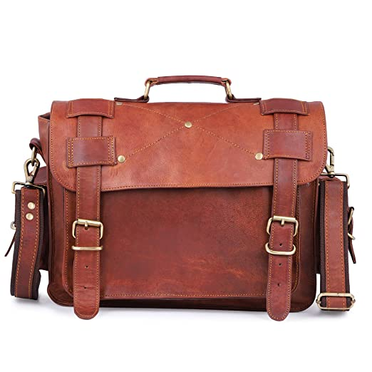 6094be232ebc mPelle 15 inch Vintage Leather Mens Real Leather Messenger Bag Laptop  Briefcase Satchel Crossbody Shoulder Bag