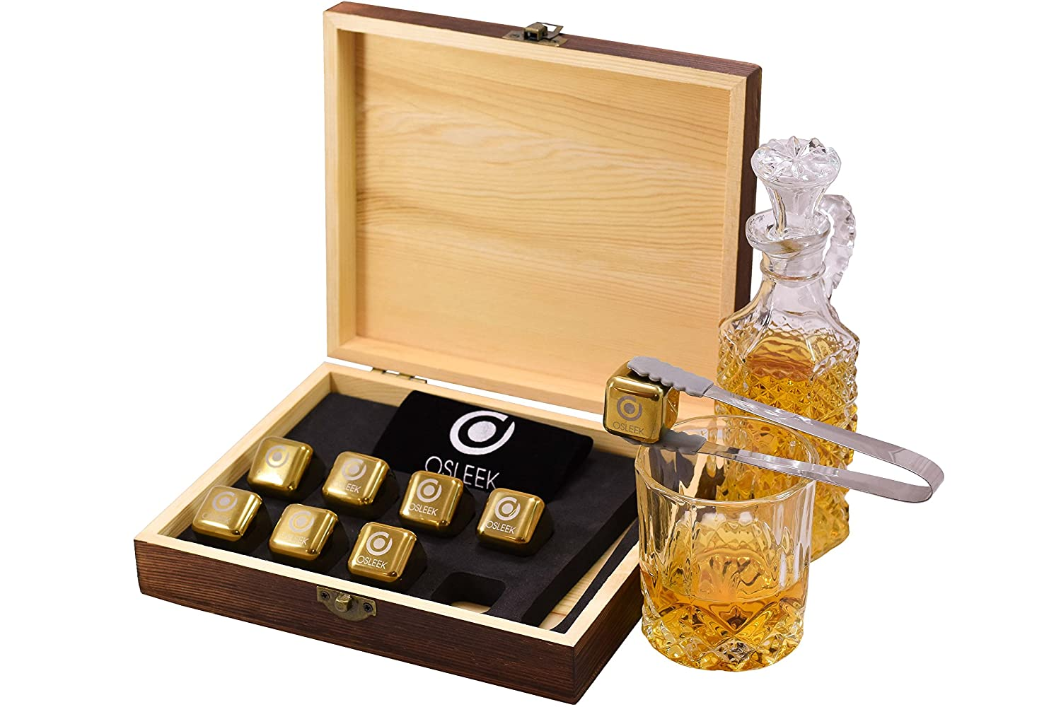Whiskey Stones - Set of 8 Titanium Gold Plated Stainless Steel Chilling Rocks Stored In A Premium Handmade Quality Wood Gift Box - Velvet Freezing Bag And Tong Included Osleek