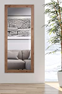 """Finehous Full Length Rustic Mirror for Wall – Large Mirror 55""""x23"""" Rustic Brown"""