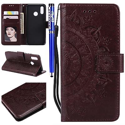 Funda Huawei P20 Lite, EUWLY Funda Teléfono Movíl Huawei P20 Lite Carcasa de Cuero Libro Diseño Funda con Dibujos Vintage Elegante en Relieve Tótem Flores Patrón Color Puro Funda de Piel Ult