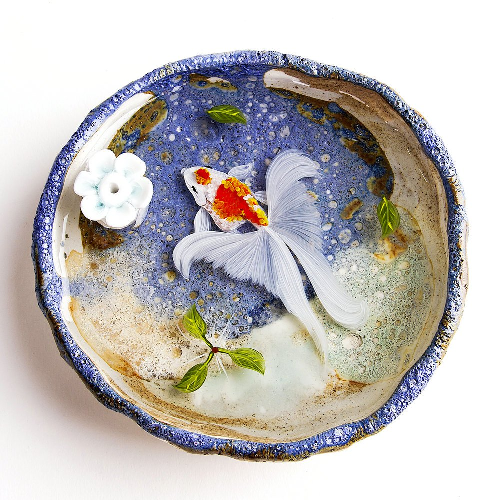 Artcer Ceramic Handmade Lotus Incense Holder Golden Fish Painting Ash Catcher Plate,White-Blue