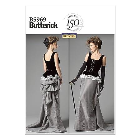 6c8d73d0d58 Butterick Patterns B5969 Patron de Corset Jupe pour Femme Blanc Taille E5 42  à 50  Amazon.fr  Cuisine   Maison