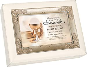 Cottage Garden First Communion Blessings Pearl White and Silver Italian Style Music Box Plays Ave Maria