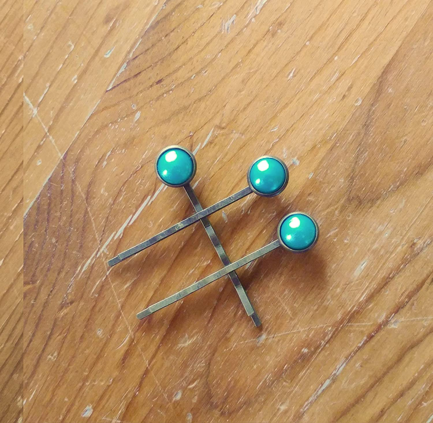 Matte Seafoam Green Set of Two Bronze Bobby Pins for Women Succulent Hair Clips
