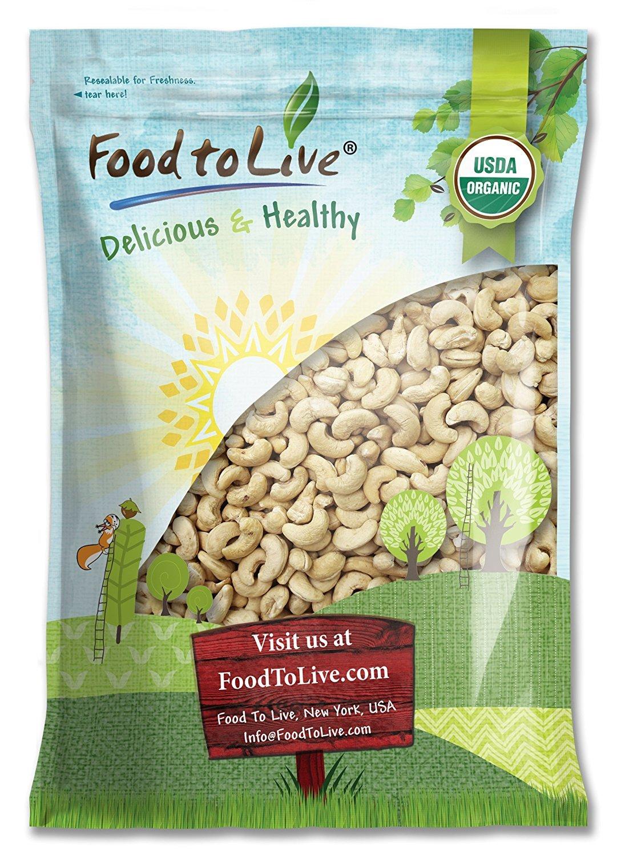 Organic Raw Cashews, 10 Pounds - Large, Whole, Size W-320, Unsalted, Non-GMO, Kosher, Vegan, Bulk
