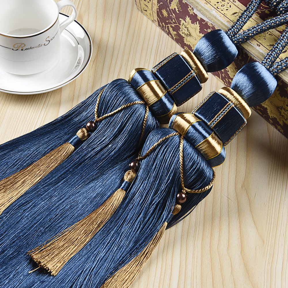 KISENG Tassel Tiebacks, 1 Pair Window Curtain Tieback Tassel Curtain Cord Curtain Tiebacks Rope for Home Decor (Dark Blue)