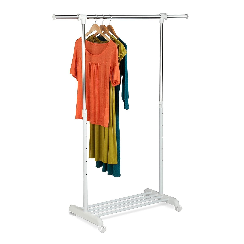 Honey-Can-Do GAR-03265 Adjustable Expandable Garment Rack with Locking Wheels, White/Chrome