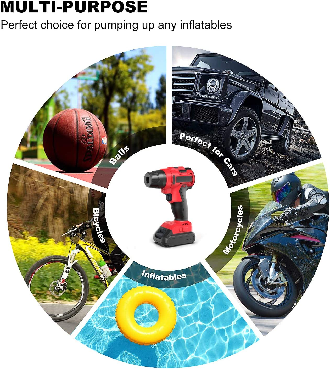 AirXwills Tire Inflator Air Compressor Pump with Digital Gauge 120 Psi Portable Cordless Pump with Rechargeable Battery Auto-Stop for Inflatables